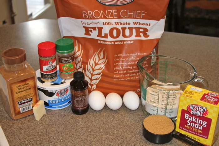 Ingredients for Spiced Sour Cream Waffles