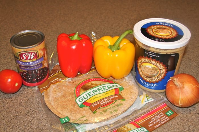 Ingredients for Black Bean Hummus Wrap