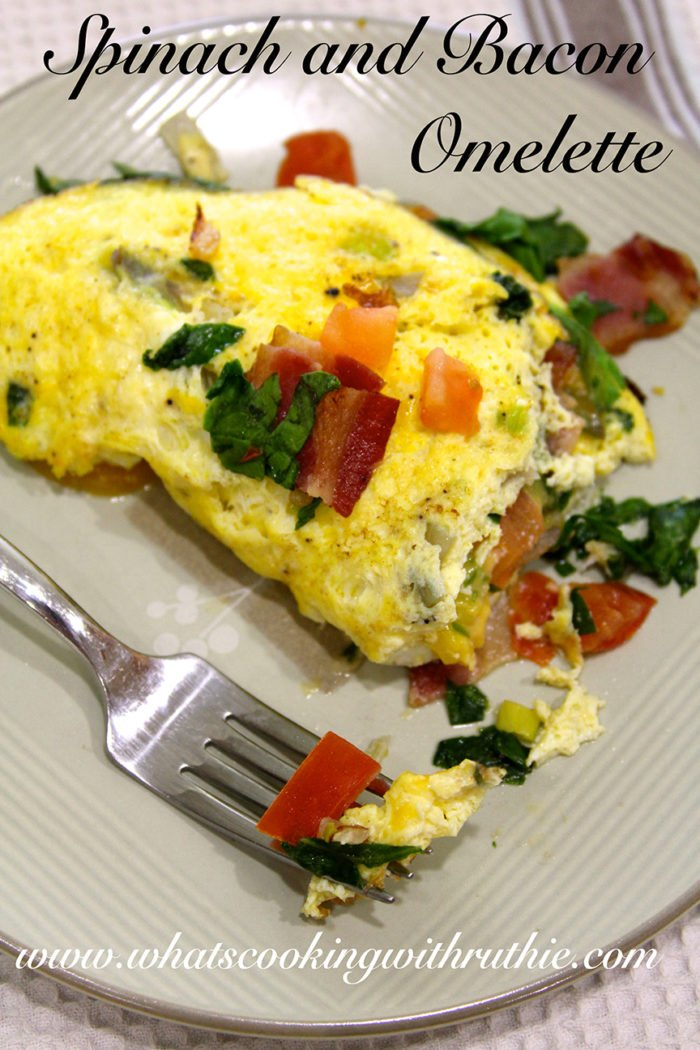 Spinach and Bacon Omelette by whatscookingwithruthie.com