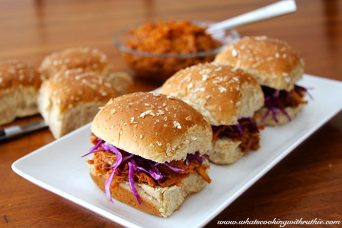 Pulled Ginger-Chicken Slider by whatscookingwithruthie.com