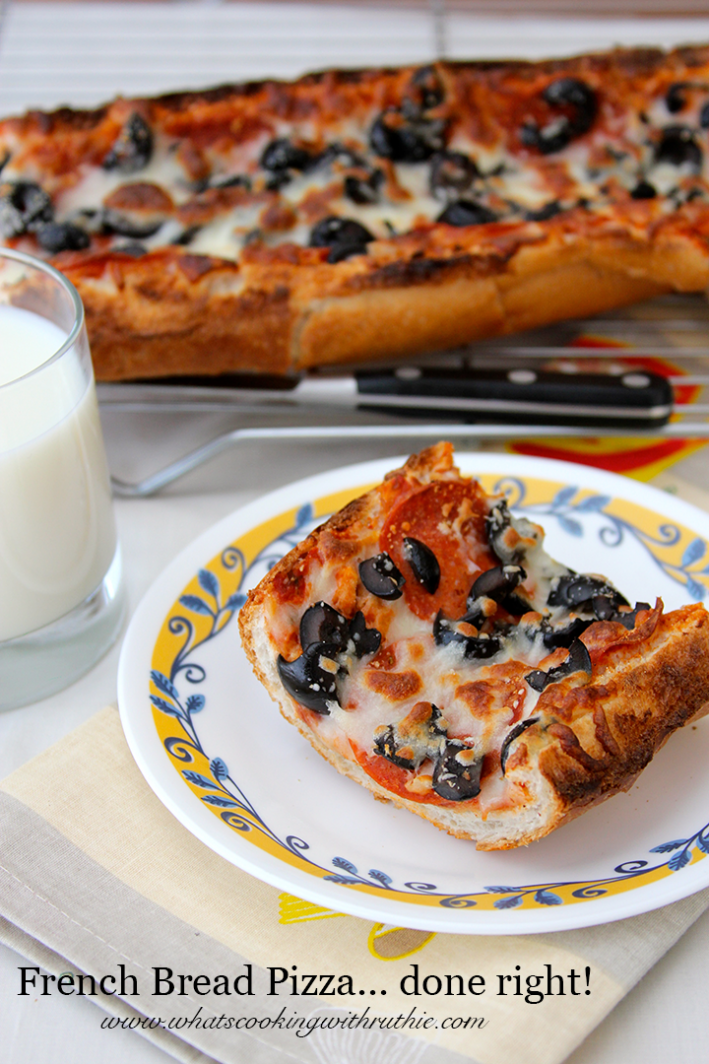 French Bread Pizza... done right! The whole family will go crazy over this simple to make dinner! by www.cookingwithruthie.com #recipes #pizza