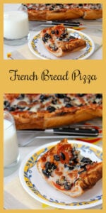 French Bread Pizza Recipe   Our French Bread Pizza is a quick and easy dinner and a long-time family favorite!    cookingwithruthie.com #pizza #frenchbread #homemadepizza #frenchbreadpizza
