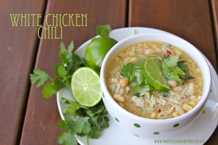 """Crockpot White Chicken Chili Recipe truly is a magic chicken recipe--it's a matter of tossing a few ingredients in the slow cooker then it works the """"magic"""" all day long! by cookingwithruthie.com"""