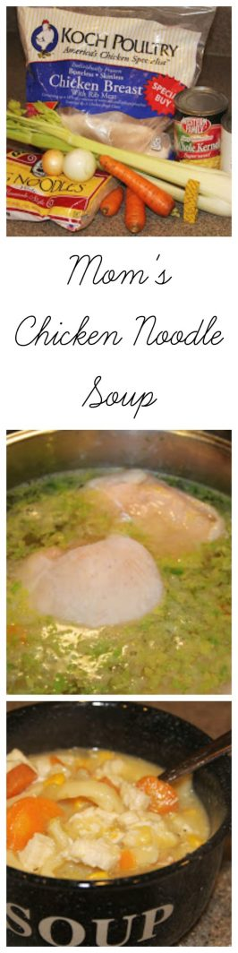 Mom's Chicken Noodle Soup on www.cookingwithruthie.com is best comfort food!