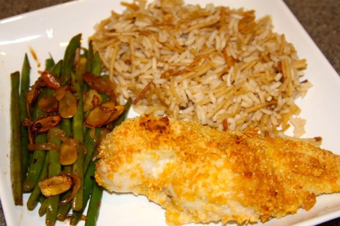 Baked Crispy Chicken, Rice Pilaf, and Green Beans YUM!! - Cooking With Ruthie