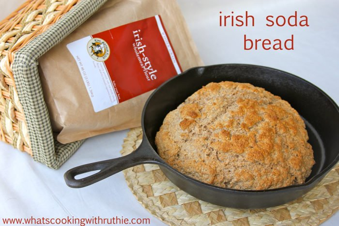 """Irish Soda Bread Recipe is a 100% whole wheat bread that uses baking soda and powder for leavening--it's a """"craggy"""" everyday Irish loaf! by cookingwithruthie.com"""