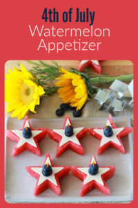 4th of July Watermelon Appetizer Recipe is beautifully Patriotic plus it's a kid friendly recipe! Make all your 4th of July and summer parties more festive and fabulous with this recipe! Watermelon, provolone cheese, and blueberries are all healthy ingredients and taste wonderful paired together in our patriotic appetizer! #4thofjuly #patrioticappetizar #partyideas || cookingwithruthie.com