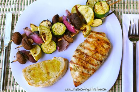 Grilled Lime Chicken, Vegetable Skewers, and Sour Dough Bread
