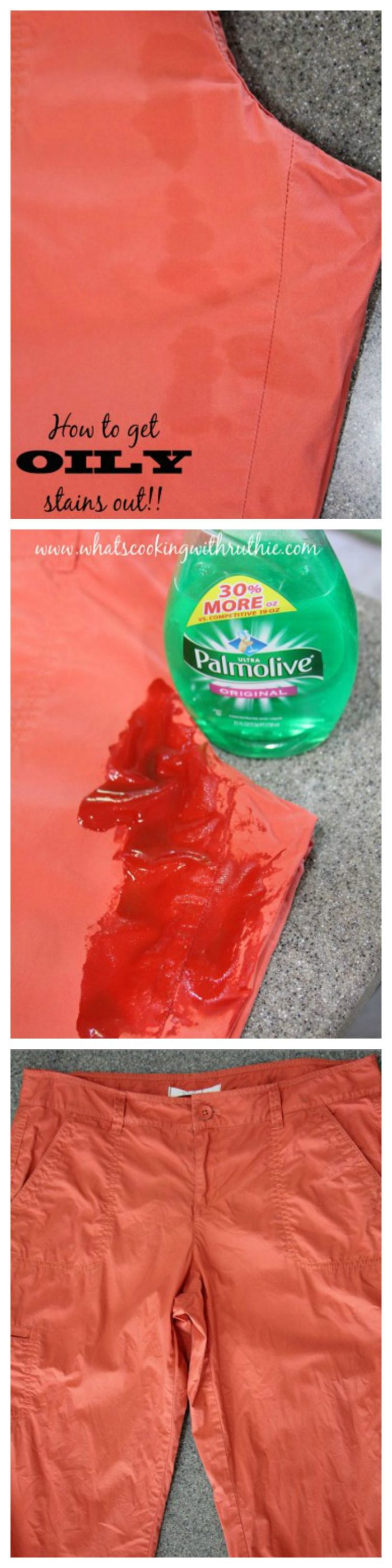 How to get Oily Stains Out by www.cookingwithruthie.com is one of the BEST laundry tricks ever!!