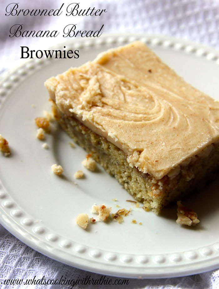 Browned Butter Banana Bread Brownies by whatscookingwithruthie.com