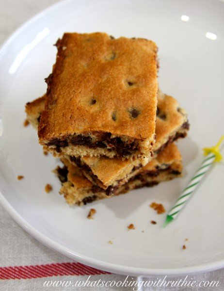 Gram's Chocolate Chip Squares by whatscookingwithruthie.com