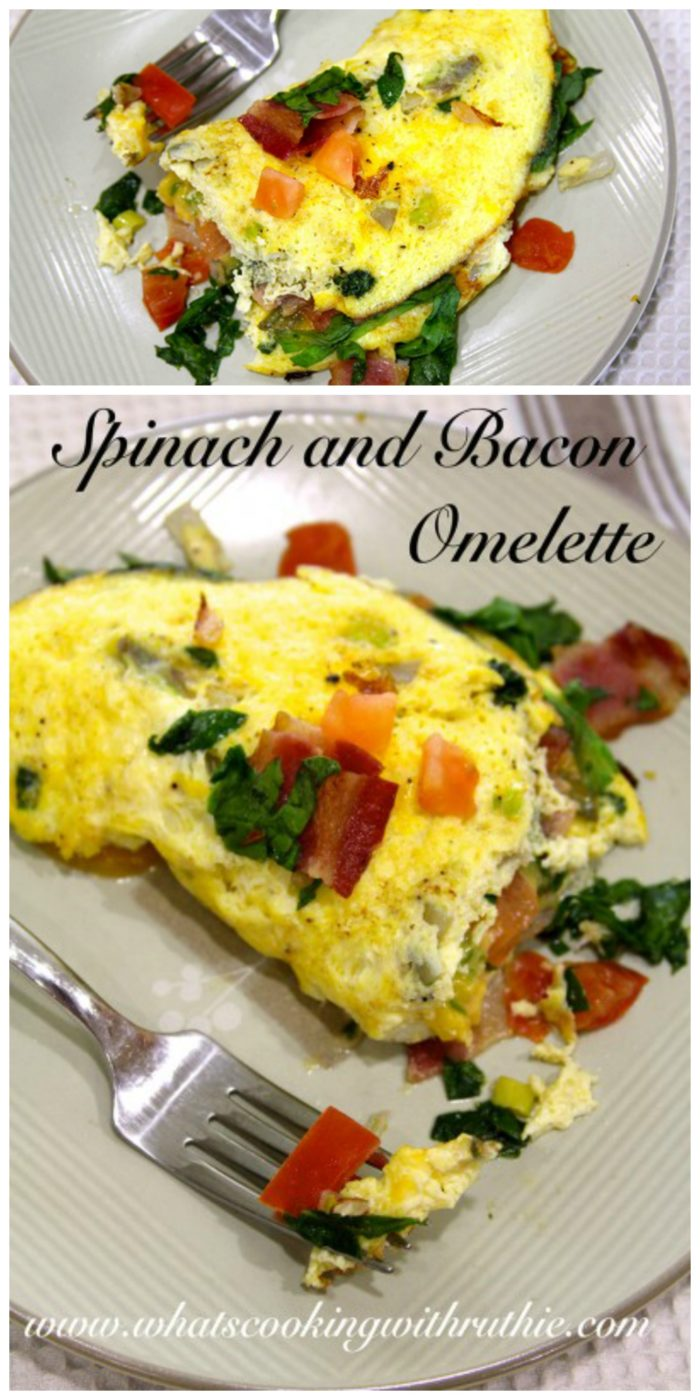 Spinach and Bacon Omelette on www.cookingwithruthie.com is just what your weekend brunch needs!