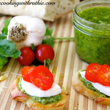 Pesto Bruschetta by whatscookingwithruthie.com