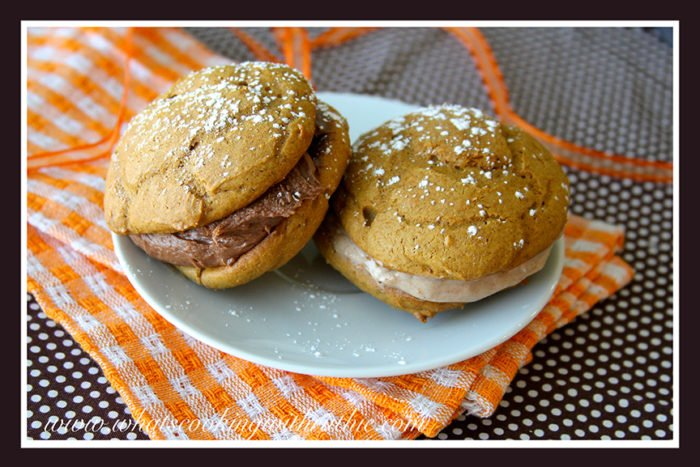 Pumpkin Spice Whoopie Pies with Nutella Filling by whatscookingwithruthie.com