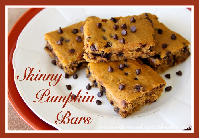 Skinny Pumpkin Bars by whatscookingwithruthie.com