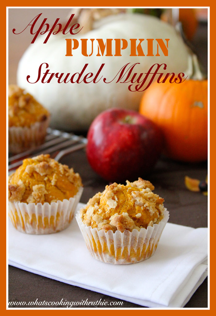 Apple Pumpkin Strudel Muffins by whatscookingwithruthie.com