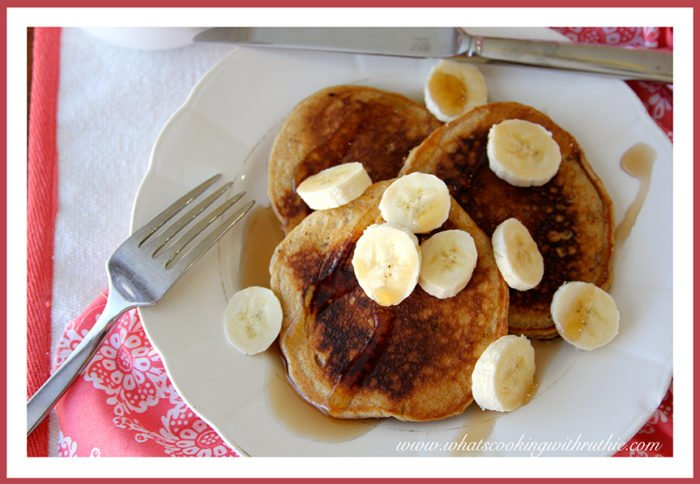 Banana Bread Pancakes by whatscookingwithruthie.com