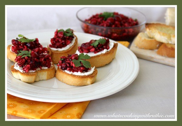 Cranberry Cream Cheese Crostini by whatscookingwithruthie.com