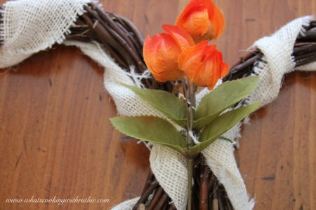 Burlap and Chevron Fall Wreath by whatscookingwithruthie.com