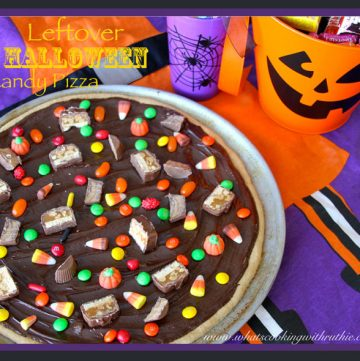 Leftover Halloween Candy Pizza by whatscookingwithruthie.com