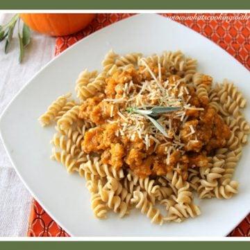 Pumpkin Sausage Rotini by whatscookingwithruthie.com