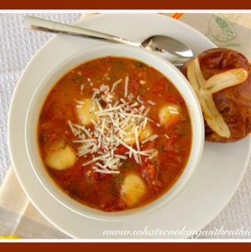 Roasted Tomato Basil Soup by whatscookingwithruthie.com
