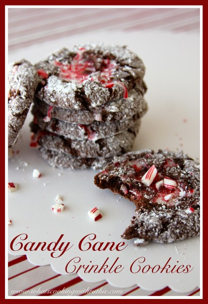 Candy Cane Crinkle Cookies by whatscookingwithruthie.com