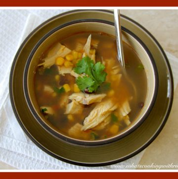 Leftover Turkey Fiesta Soup by whatscookingwithruthie.com