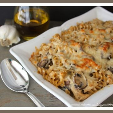 Leftover Turkey Mushroom Bake by whatscookingwithruthie.com