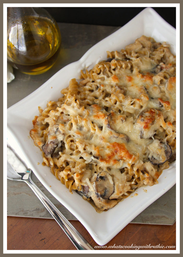 Leftover Turkey Mushroom Bake by whatscookingwithruthie.com