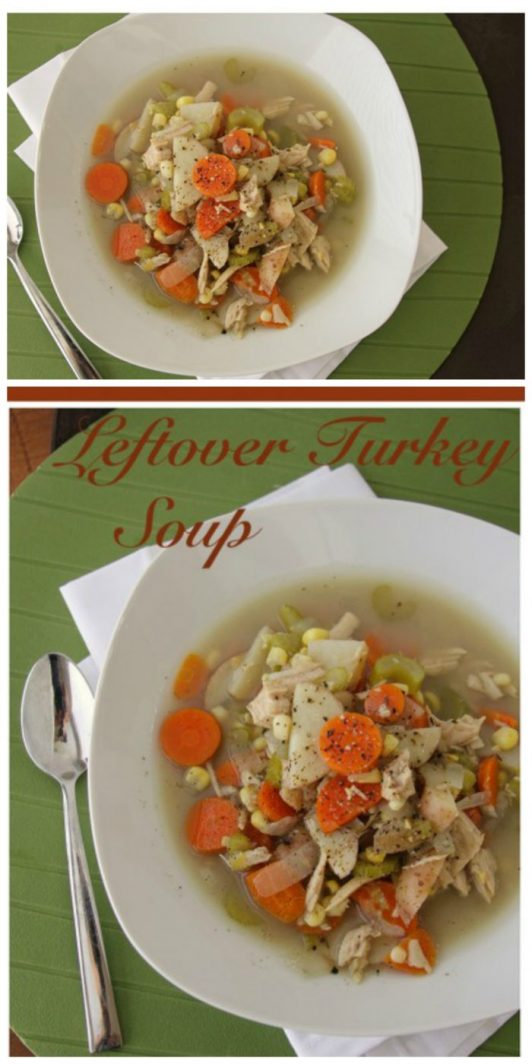 Leftover Turkey Soup on www.cookingwithruthie.com is the best way to use up the leftover turkey!