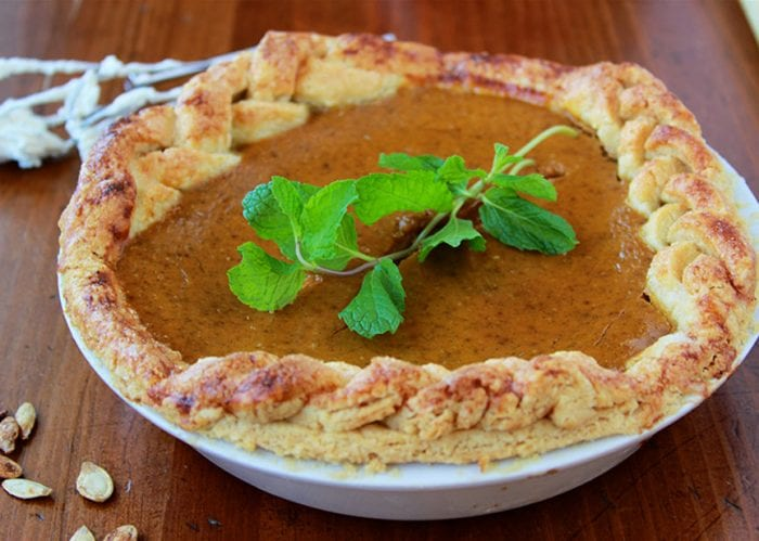We love this doTERRA Pumpkin Pie Recipe is flavored with doTERRA essential oils like clove, ginger, and cinnamon! by cookingwithruthie.com