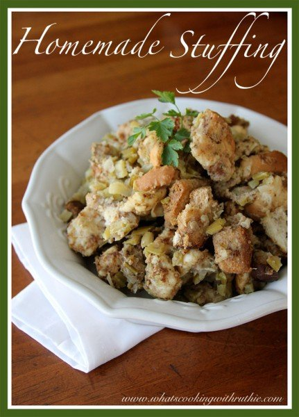 Homemade Stuffing by whatscookingwithruthie.com
