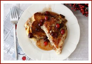 Mascarpone-Stuffed French Toast with Cranberry Syrup by whatscookingwithruthie.com
