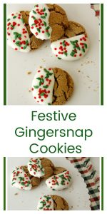 Festive Ginger Snap Cookies on www.cookingwithruthie.com are soft, chewy, and festive for the Holidays!