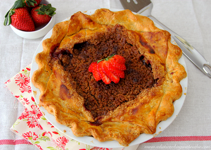 Disney Flo's V8 Strawberry-Rhubarb Pie by whatscookingwithruthie.com