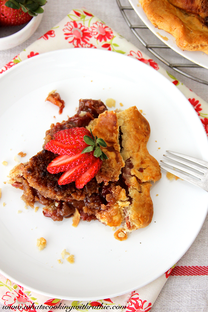 Disney's Flo's V8 Strawberry-Rhubarb Pie by whatscookingwithruthie.com
