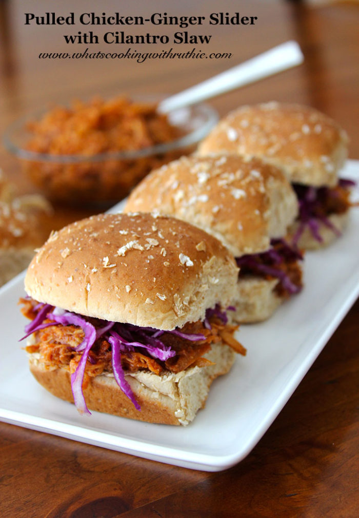 Pulled Chicken-Ginger Chicken by whatscookingwithruthie.com