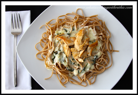 Spinach&Artichoke Alfredo Chicken by whatscookingwithruthie.com