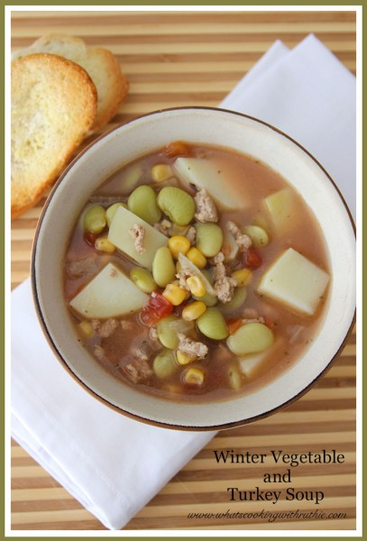Winter Vegetable and Turkey Soup by whatscookingwithruthie.com
