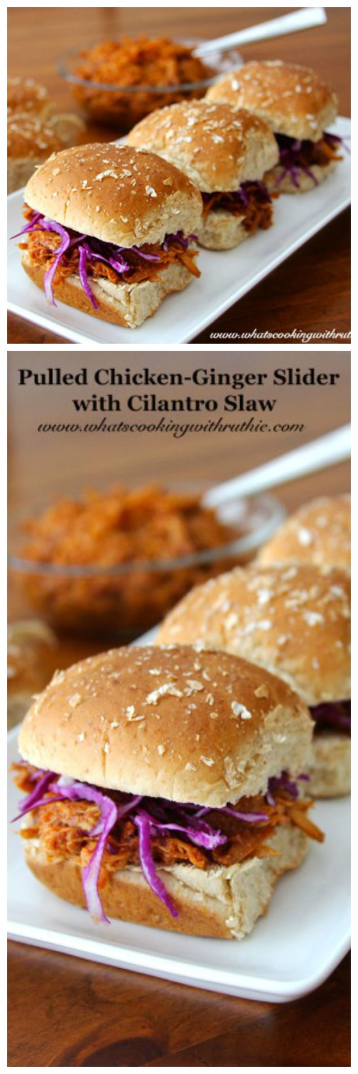 Pulled Ginger-Chicken Slider with Cilantro Slaw on www.cookingwithruthie.com is the perfect slow cooker appetizer or dinner!