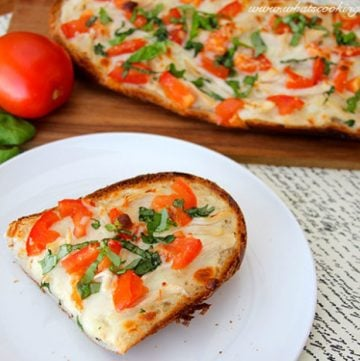 Chicken Alfredo French Bread Pizza by whatscookingwithruthie.com