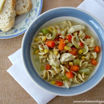 Homemade Chicken Noodle Soup by whatscookingwithruthie.com