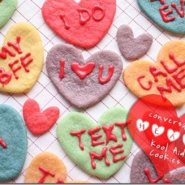Valentine Conversation Heart Cookies Koolaid Cookies
