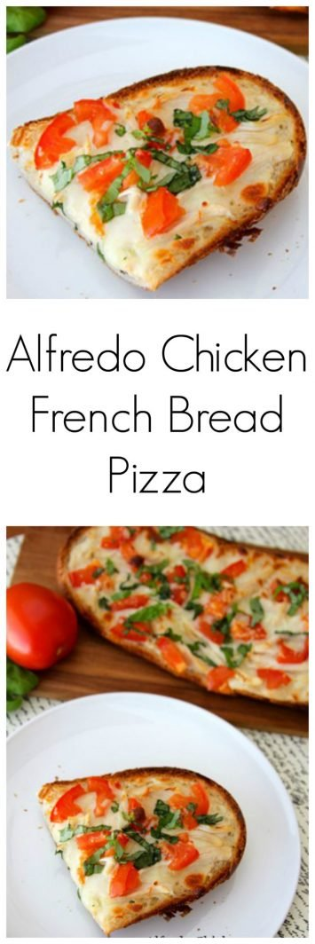 Alfredo Chicken French Bread Pizza on www.cookingwithruthie.com is a quick and easy dinner the whole family will love!  The best part about this recipe is that the crust stays crisp and it turns out deliciously perfect every time