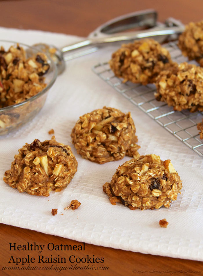 Healthy Oatmeal Apple Raisin Cookies by www.whatscookingwithruthie.com
