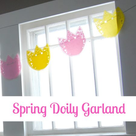Spring Dollar Store Doily Garland