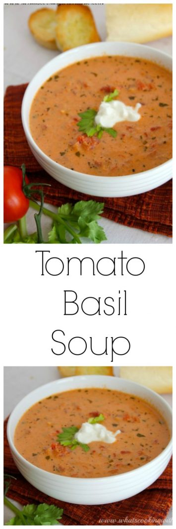 Tomato Basil Soup on www.cookingwithruthie.com is simple to make and a perfect week night meal!