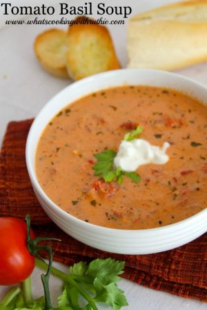 Tomato Basil Soup by www.whatscookingwithruthie.com