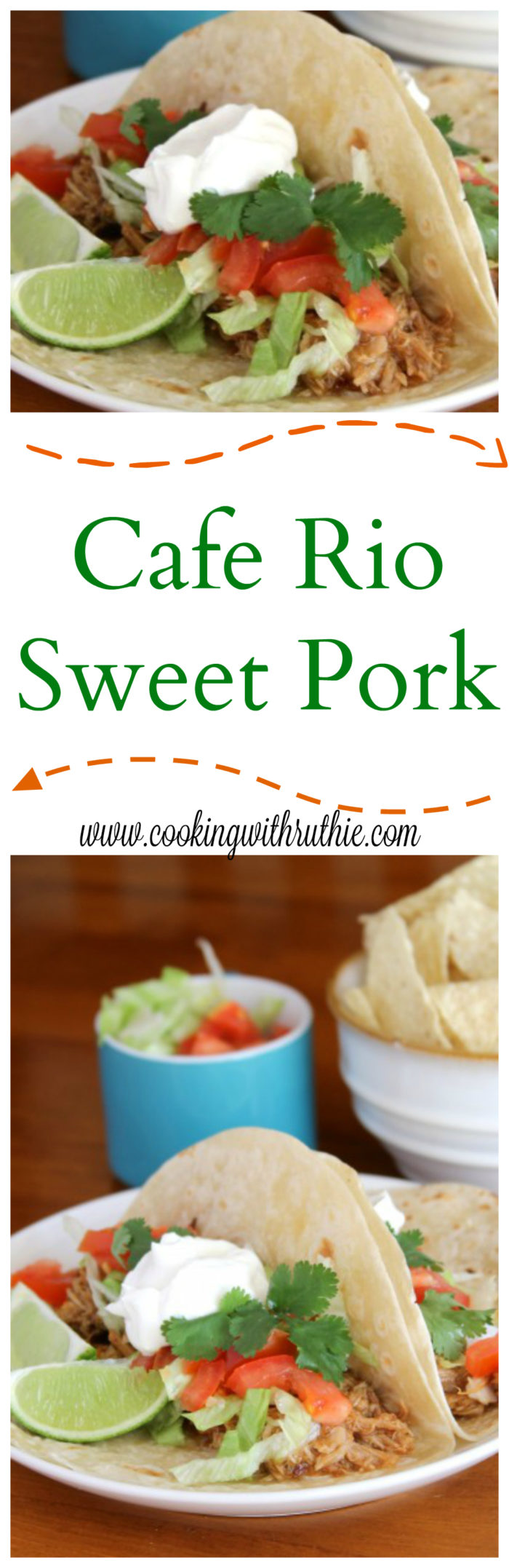 Cafe Rio Sweet Pork (copycat) on www.cookingwithruthie.com is a crock-pot dinner that is so versatile, you can make burritos, tacos, nachos... you'll be in love with it!